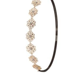 Gold Rhinestone Flower Head Wrap by Charlotte Russe - Gold