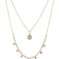 Layered Rhinestone Necklace by Charlotte Russe - Gold
