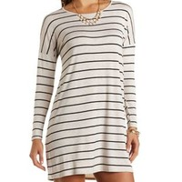 Long Sleeve Striped T-Shirt Dress - Oatmeal Heather