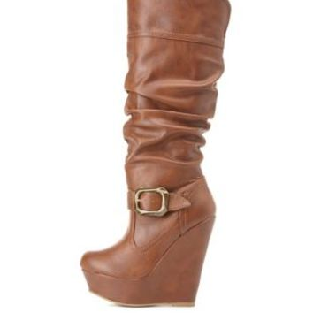 Bamboo Buckled Slouchy Wedge Boots by Charlotte Russe - Chestnut