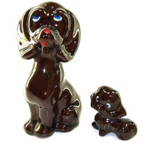 1960s Vintage Ceramic Dog Figurines Mother Puppy Brown Redware