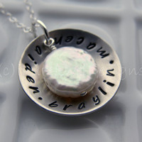 Personalized Hand Stamped Necklace - - Sterling Silver Name cup with Coin Pearl - - Mommy Jewelry