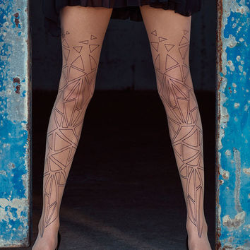 Geometrical Print Sheer Tights body color & Black - Free Shipping