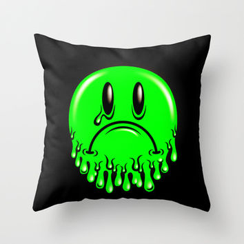 Slimey - neon green Throw Pillow by Chobopop