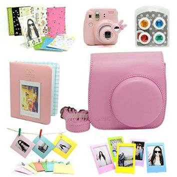 Fujifilm Instax Mini 8 Instant Camera Accessory Bundles Set (Included: Pink Mini 8 Vintage Case Bag/ Pink Hard Cover Instax Mini Book Album / Pink Rabbit Design Mini 8 Close-Up Lens(Self-Portrait Mirror)/ Colorful Close-Up Lens For Mini 8/ Wall Decor Hangi