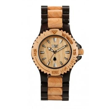 WeWood Date Black and Beige Wood Watch