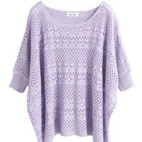 Acrylic Pink Ultra-Thin Hollow Bat Short-Sleeved Round Neck Sweater  style 1631009-Pink