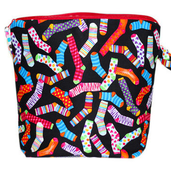 NEW Knitting Project Bag for Sweaters   Knitting Bag with Pocket   Large Zipper Pouch with Two (2) Yarn Guides   Wedge