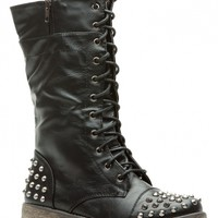 Black Faux Leather Spiked Lace Up Combat Boots @ Cicihot Boots Catalog:women's winter boots,leather thigh high boots,black platform knee high boots,over the knee boots,Go Go boots,cowgirl boots,gladiator boots,womens dress boots,skirt boots.