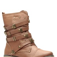Tan Faux Leather Studded Ankle Boots @ Cicihot Boots Catalog:women's winter boots,leather thigh high boots,black platform knee high boots,over the knee boots,Go Go boots,cowgirl boots,gladiator boots,womens dress boots,skirt boots.