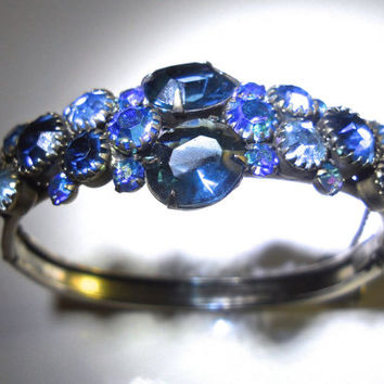 Sapphire Blue Rhinestone Bracelet Hinged, Blue ABs, Silver Tone, Vintage... Florenza?