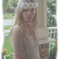 Vintage 70s Boho Bohemian Hand Crocheted Fringed by BreatheCouture