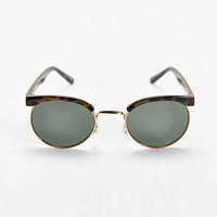 Gold Trim Tortoise Round Sunglasses- Brown One
