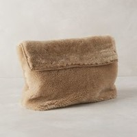 Dejeuner Shearling Clutch by Marie Turnor Neutral Motif One Size Clutches