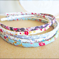 Floral Headband Shabby Chic Headband Vintage Inspired Hairband Fabric Headband - Summer Peony Tangerine Gloria