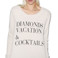 Chaser Diamonds, Vacation and Cocktails Top Antique White