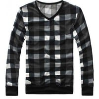Mens Casual Grid V Neck Knitting Pullover Sweater S/M/L @L93