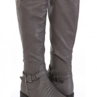 Grey Faux Leather Buckle Strap Decor Knee High Flat Boots