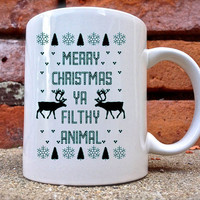 merry christmas you flith animal Mug is beautifully and uniquely designed on a white coated ceramic.