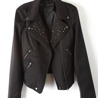 Faux Leather Black Long Sleeve Rivet Big Lapel Full Zip Leather Jacket  style 819py003-Black