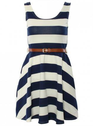 Striped Sleeveless Skater Dress with Thin Waist Belt