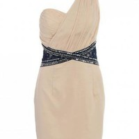 One Shoulder Dress with Embellished Waist and Shoulder