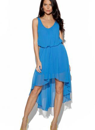 Blue Sleeveless Dress with Asymmetrical Hemline