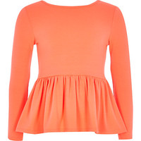 River Island Girls coral peplum top