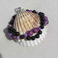 "Black Onyx & Purple Sugilite Crystal Gemstone Bracelet ""Black Heather"""