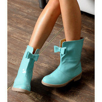 YESSTYLE: yeswalker- Patent Leather Bow Accent Rain Boots - Free International Shipping on orders over $150