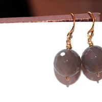 GOLD MOONSTONE DANGLES / wire-wrapped earrings ft. grey moonstone, 14k gold wire and French earhooks