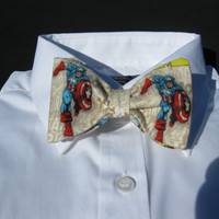 Bow tie made from Captain America Comics Fabric