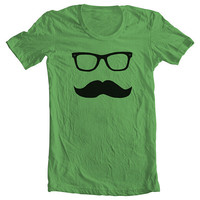 MUSTACHE WAYFARER Men's Women's T shirt American Apparel - Grass (9 COLORS) Sizes xs, s, m, l, xl - (gct) ns