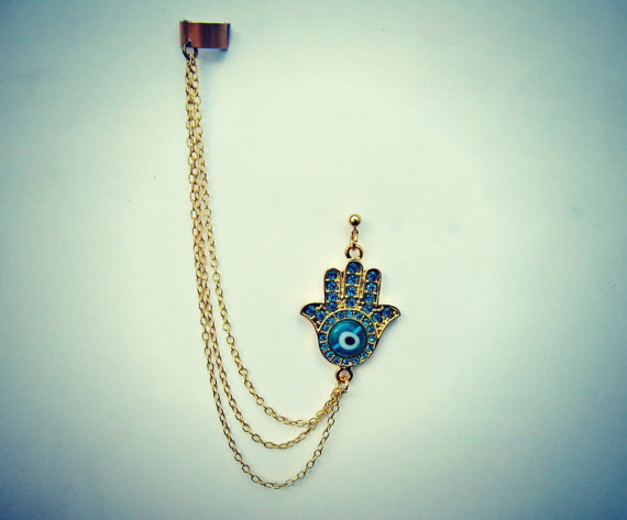 ear cuff with gold hamsa hand earring, evil eye hamsa, hand of fatima, boho ear cuff