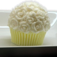 Lemon Chiffon Rose Top Cupcake Soap Party Favor by SweetbodySoaps