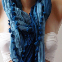 Blue - Cotton Shawl  - Scarf  Headband  Bandana Pareo