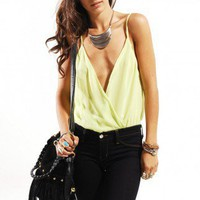 Deep V Chiffon Bodysuit in Lime