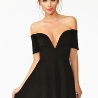 Wired Skater Dress - Black