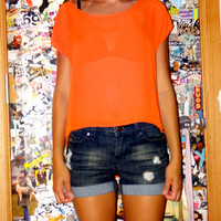 Bright Neon Orange See-Through Womans Shirt