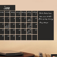 Large Chalkboard calendar vinyl wall decal sticker Monthly Blackboard with memo area