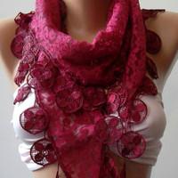 ON SALE Fuchsia Scarf  -  Elegance  Shawl / Scarf with Lacy Edge