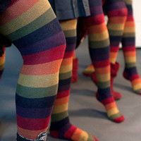 Socks   Socks  Extraordinary Harvest Rainbow Thigh Highs  Sock Dreams