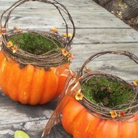 Orange Pumpkin Basket by AprilHilerDesigns on Etsy