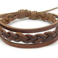 Jewelry bangle leather bracelet woven bracelet men bracelet women bracelet with brown leather woven cuff bracelet SH-2486