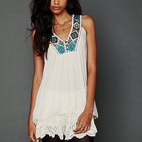 Free People Sleeveless Embroidered Top