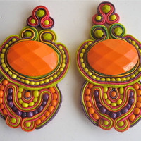 GOOD VIBRATIONS  soutache earrings in orange and neon yellow
