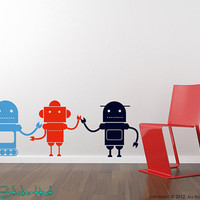 3 Large Robots Bedroom Wall Decor Word Vinyl Lettering Sticker Decal 1370