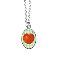 Dainty pop art red apple necklace - 