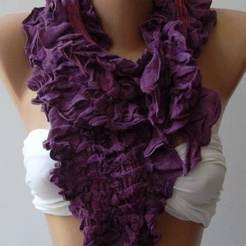 Purple  -- Elegance Shawl -- Scarf Cotton