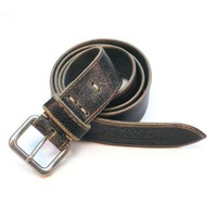 Authentic wornout leather belt by portelbelts